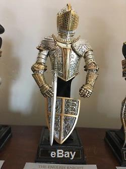 Franklin Mint Mini Knights, Pewter wi sterling silver and 24K Gold Electroplate