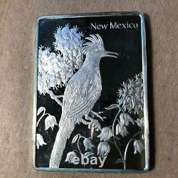Franklin Mint New Mexico State Bird and Flower 1.25 oz Sterling Silver Art Bar