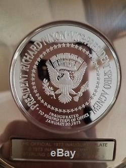 Franklin Mint Official 1973 Inaugural Plate Sterling Silver Nixon/Agnew