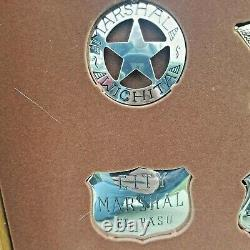 Franklin Mint Official Sterling Silver Badges Western Lawmen With Display Case