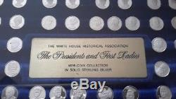 Franklin Mint Presidents & First Ladies Mini Sterling Silver Coins In Case