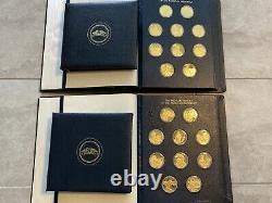 Franklin Mint Proof Set 100 Sterling Silver Medals (Gold Plated) 63.5 Oz