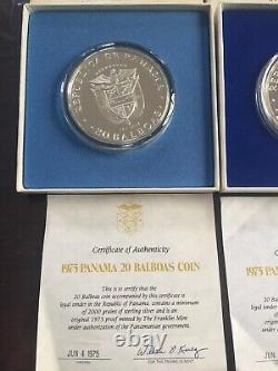 Franklin Mint Republic of Panama One 1975 20 Balboas Sterling Silver Proof Coin