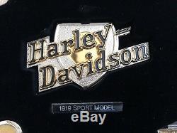 Franklin Mint Set Of 12 Sterling Silver & Gold Harley Davidson Insignia Badges