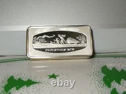 Franklin Mint Set of Christmas Ingots 1970 Thru 1979 OF. 925 Silver 23.2 OZ