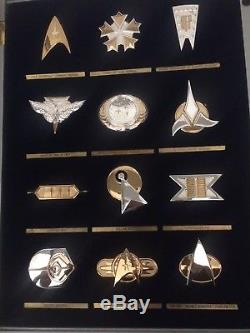 Franklin Mint Star Trek. 925 Sterling Silver & Gold Plated 12 Badge Insignia Set