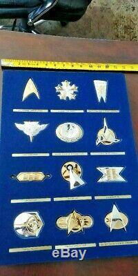 Franklin Mint Star Trek. 925 Sterling Silver & Gold Plated 12 Badge Insignia Set