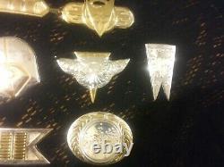 Franklin Mint Star Trek. 925 Sterling Silver Gold Plated Insignia Badges