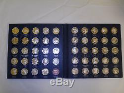 Franklin Mint States Of Union Series Solid Sterling Silver 50 Piece Coin Set