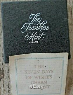 Franklin Mint Sterling 7 Days Of Wishes Charm Holder Pendant Necklace Box Coa