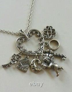 Franklin Mint Sterling 7 Symbols Of Love Charm Holder Pendant Necklace Fm 83