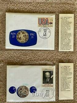 Franklin Mint Sterling Silver 12 Zodiac Coins, Astrology, Sealed/Postmarked 1969