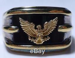 Franklin Mint Sterling Silver 14k Gold Eagle Onyx Mens Patriotic Ring Band 14.25