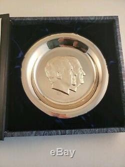 Franklin Mint Sterling Silver 1973 Presidential Inaugural Plate Nixon Agnew