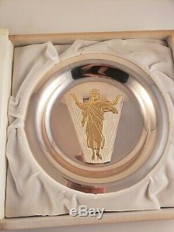Franklin Mint Sterling Silver 24 kt Gold Easter Plate 1973 Resurrection Jesus