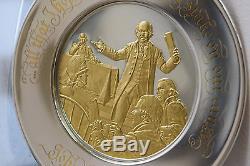 Franklin Mint Sterling Silver 24k Gold Plated John Adams 1974 Bicentennial Plate