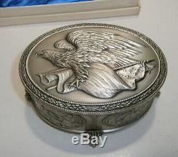 Franklin Mint Sterling Silver American Freedom Box Trinket Box American History
