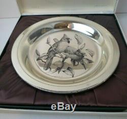 Franklin Mint Sterling Silver Cardinal Plate Audubon Society J. Lansdowne 1973