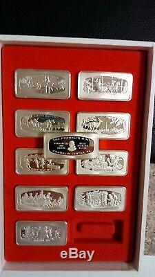Franklin Mint Sterling Silver Christmas Ingots 1970-1979 In Presentation Box