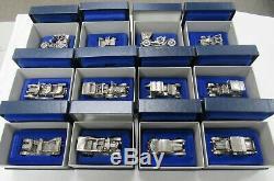 Franklin Mint Sterling Silver Collectors Miniature Vintage 12 Car Set Box & Coa