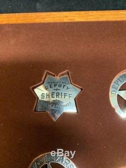 Franklin Mint Sterling Silver Great Western Lawmen Badges With Display