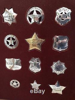 Franklin Mint Sterling Silver Lawman (12) Badge Set With Oak Case