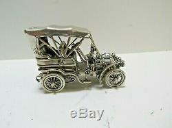 Franklin Mint Sterling Silver Miniature Car 1903 Fiat withOrig. Box