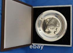 Franklin Mint Sterling Silver Plate James Wyeth Skating on the Brandywine1975