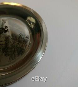 Franklin Mint Sterling Silver Plate Riding to the Hunt James Wyeth COA 174 grams