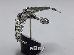 Franklin Mint Sterling Silver Star Trek Klingon Bird Of Prey Stand/Certificate