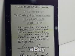 Franklin Mint Sterling Silver Star Trek Romulan Warbird Stand/Certificate