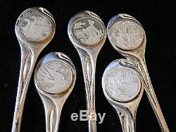 Franklin Mint Sterling Silver Twelve Days of Christmas Tea spoons in case