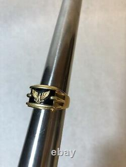 Franklin Mint Sterling Silver with 14k Gold Eagle Onyx Mens Ring Sz 12.75 21 Grams
