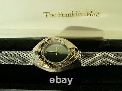 Franklin Mint The Dragon Masters Solid Sterling Silver Gilt Diamond & Ruby Watch