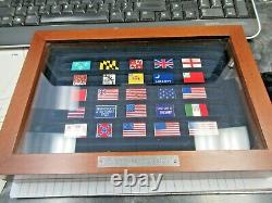 Franklin Mint The Flags of Liberty Enamel Sterling Silver 25 Flag Set &Box Coa's