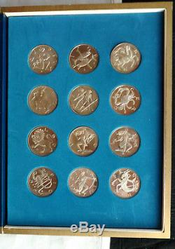 Franklin Mint Treasury of Zodiac 12 STERLING SILVER Medal PROOF Numbered Set