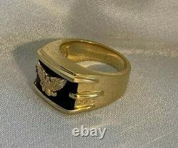 Franklin Mint'Wings of Gold' Men's Ring Silver + 14k Gold Eagle + Onyx