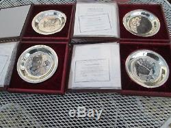 Franklin Mint four Norman Rockwell Solid Sterling Silver ChristmasPlates