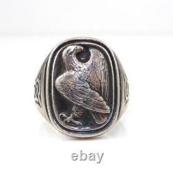 Georg Jensen Sterling Silver Eagle Celtic Love Knot Ring Size 8.5 LHE4