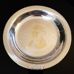 George Washington STERLING SILVER PLATE LTD ED FRANKLIN MINT with24kt GOLD INLAY