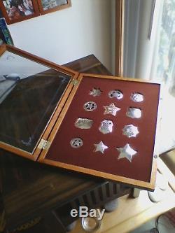 Great Western Lawmen Franklin Mint Sterling Silver Law Enforcement Badges- 1987