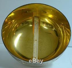 HUGE SOLID STERLING SILVER BOWL BICENTENNIAL FRANKLIN MINT 24kt GOLD ORIG BOX