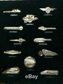 Harley Davidson Franklin Mint Tank Badges. Sterling Silver w Gold Highlights