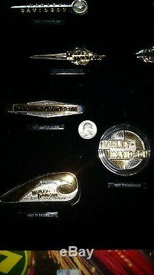 Harley Davidson Franklin Mint Tank Badges. Sterling Silver w Gold Highlights