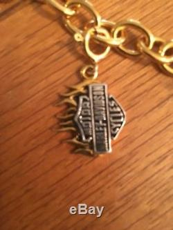 Harley-Davidson Sterling Silver Charm Bracelet 24k Gold Overlay Franklin Mint