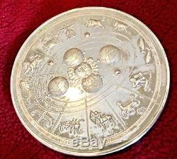 Huge1988 Astrological Zodiac Horoscope Franklin Mint Sterling Silver Medal 292g