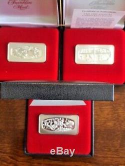 Lot of 22 Franklin Mint Christmas Sterling Silver Ingots, 500-Grain 1971-1993