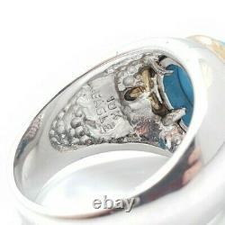 Men's Sterling Silver 925 10k Gold Eagle Franklin Mint Turquoise Ring Size 9.25