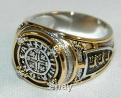 NEW RING Medieval Richard Lion Heart England sz11 4 DIAMOND STERLING 24K ACCENT