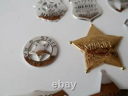 New Vintage STERLING SILVER THE OFFICIAL BADGES OF THE GREAT WESTERN LAWMEN